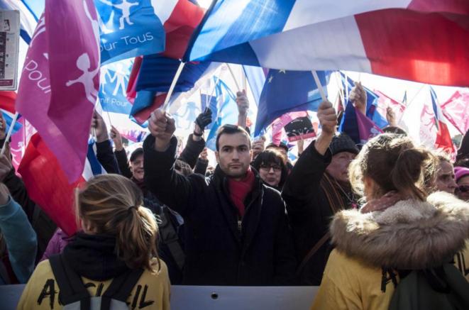 Lors du défilé de la « Manif pour tous », le 2 février 2014, à Paris. © Nicolas Serve