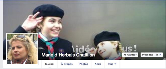 L'un des deux comptes Facebook de Marie d'Herbais, qui fut longtemps la femme de Frédéric Chatillon. © Facebook / Marie d'Herbais