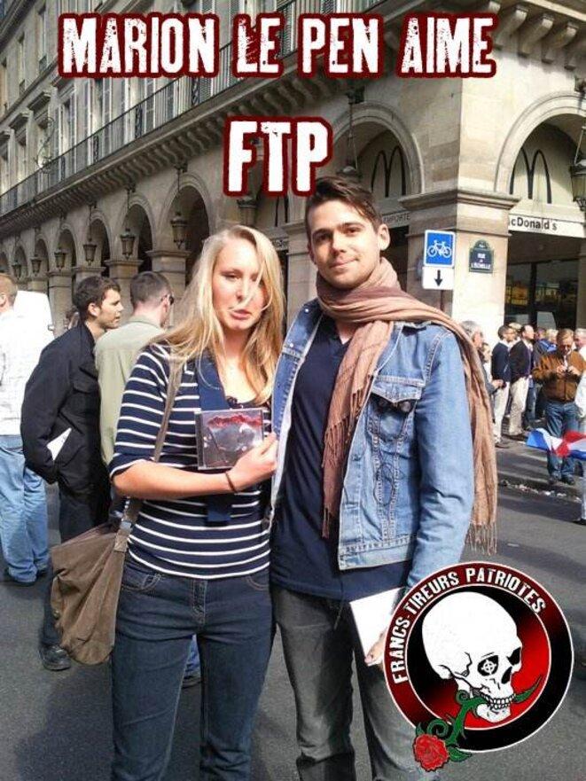 Marion Maréchal-Le Pen lors d'un défilé du 1er-Mai du FN, rue de Rivoli, à Paris, avec le rappeur d'extrême droite Fasc. © Reflexes