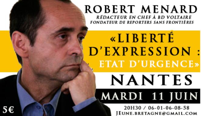 L'affiche annonçant la venue de Robert Ménard chez Jeune Bretagne, le 11 juin 2013.