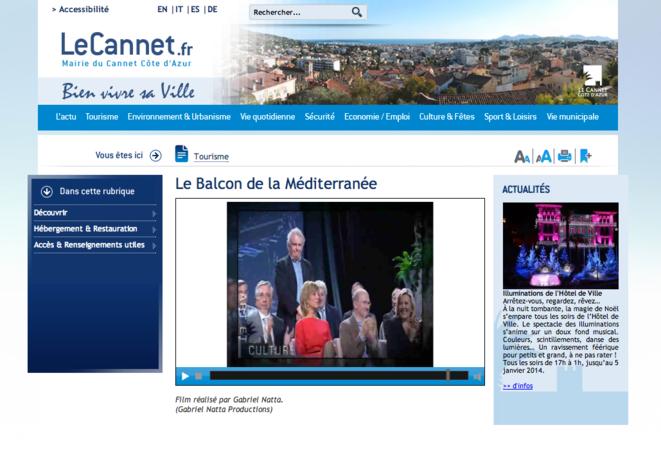 Film de communication institutionnelle réalisé sur le Cannet par l'ex-journaliste Gabriel Natta. © Catpure d'écran du site de la mairie du Cannet.