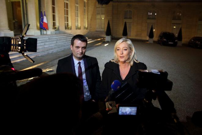 Florian Philippot et Marine Le Pen, à l'Elysée, le 30 novembre 2012.