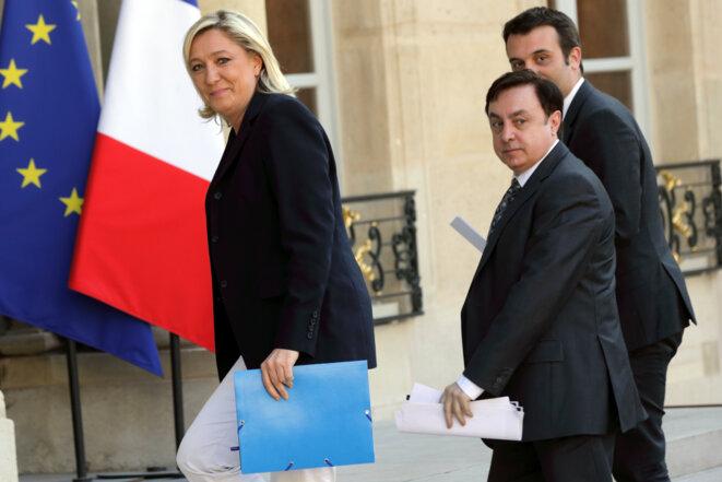 Marine Le Pen, Jean-François Jalkh et Florian Philippot à l'Élysée, le 16 mai 2014.