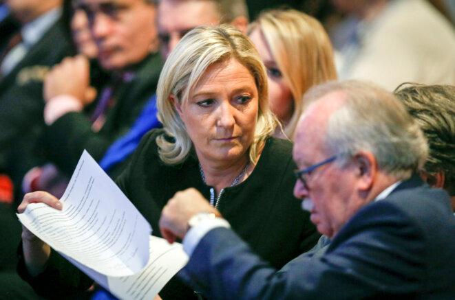 Marine Le Pen et le trésorier du FN, Wallerand de Saint-Just, au congrès du FN, en novembre 2014. © Reuters