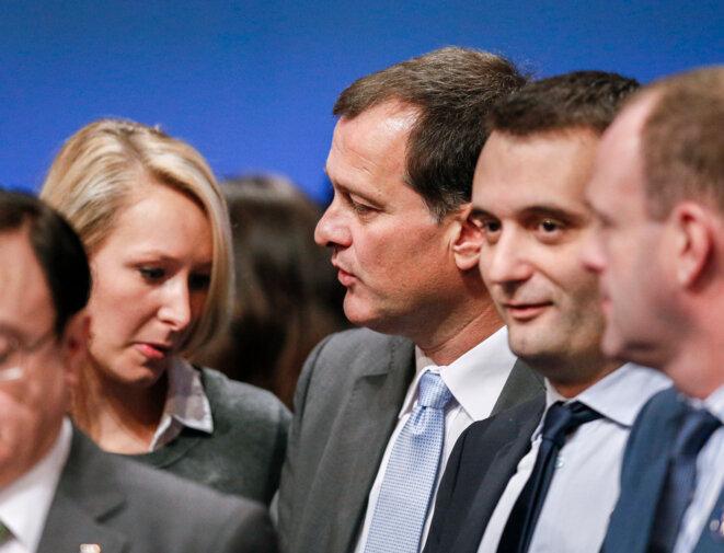 Marion Maréchal-Le Pen, Louis Aliot, Florian Philippot et Steeve Briois, au congrès du FN, le 30 novembre 2014. © Reuters