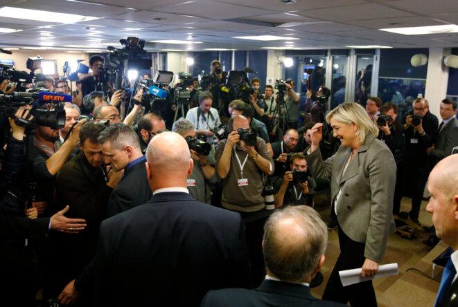 Marine Le Pen dimanche 29 mars, au siège du FN. © Reuters