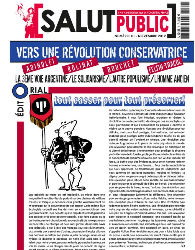 La une de Salut Public, journal de Serge d'Ayoub, en novembre 2012.