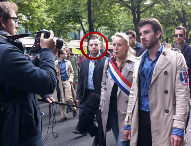 Mathieu Spieser assurant la sécurité de M. Maréchal-Le Pen, lors de la manifestation contre le mariage pour tous du 26 mai 1013. © Fafwatch