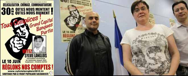 Sylvie Langlois candidate pour les législatives de 2012 sous les couleurs du parti de Serge Ayoub, avec qui elle pose à droite. © Blog de Sylvie Langlois.
