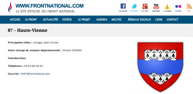 Sur le site du FN, Vincent Gérard apparaît toujours comme secrétaire départemental de la Haute-Vienne. © Site du Front national.