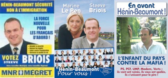 Les affiches de campagne de Steeve Briois: 2001, 2008, 2009