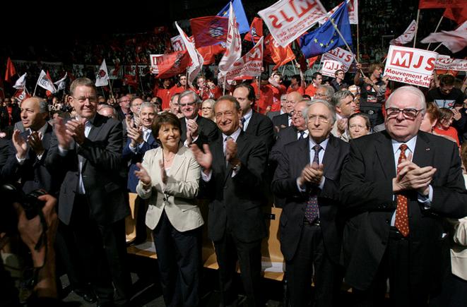 M. Aubry, D. Percheron, P. Mauroy lors d'un meeting à Lille pour les européennes de 2009.