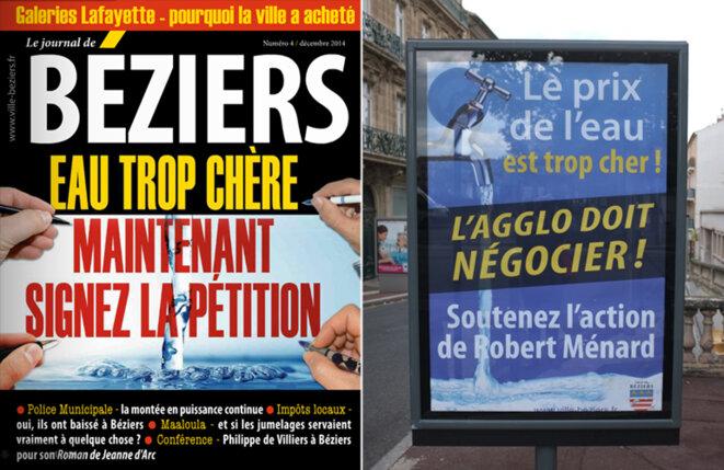 À gauche, la une du journal municipal d'octobre. À droite, la campagne d'affichage de la ville sur le prix de l'eau en novembre. © M.T. / Mediapart