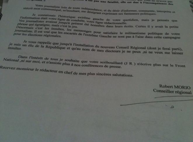 La lettre envoyée à la Dépêche du Midi.