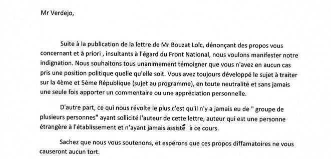 La lettre de soutien des élèves.