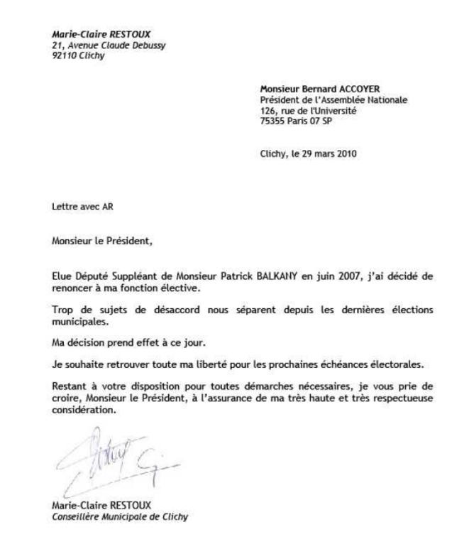 La lettre de démission de M-C Restoux.