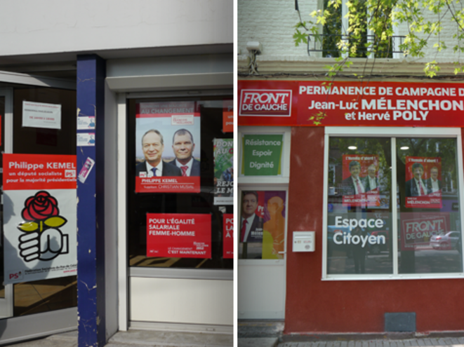 Les QG du PS et du Front de Gauche à Hénin-Beaumont. © M.T.