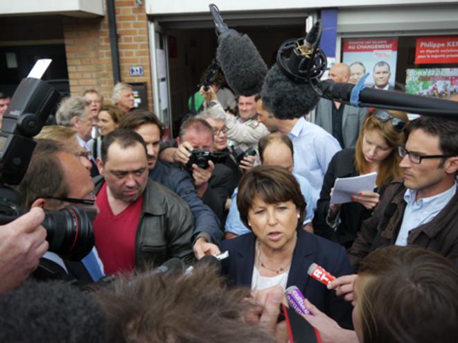 Martine Aubry à son arrivée à Hénin-Beaumont. © M.T.