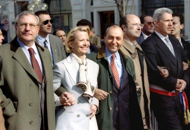 Jean-Marie et Cendrine Le Chevallier, Bruno Mégret, Jacques Bompard et Daniel Simonpieri en février 1998. © Reuters