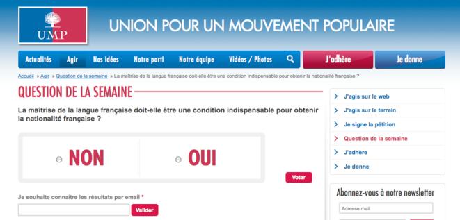 Capture d'écran du site de l'UMP.