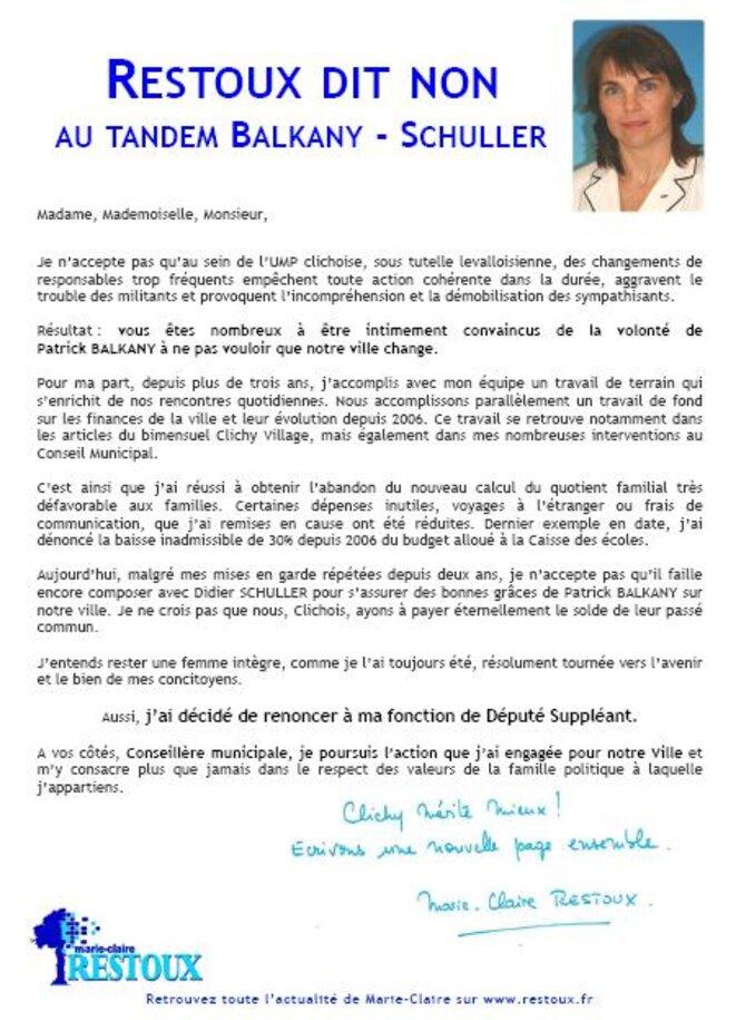 Le communiqué de M-C. Restoux.