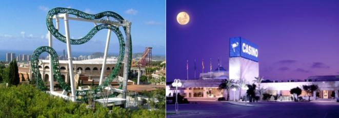 Le parc d'attraction Terra Mitica (à gauche). Le casino de Villajoyosa (à droite).