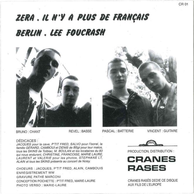La pochette (verso) du disque, où figure Vincent Gérard comme guitariste. © Reflexes