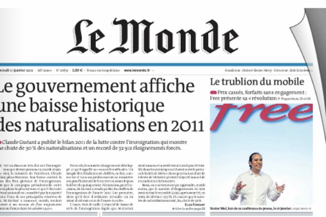 Le Monde du 11 janvier 2012