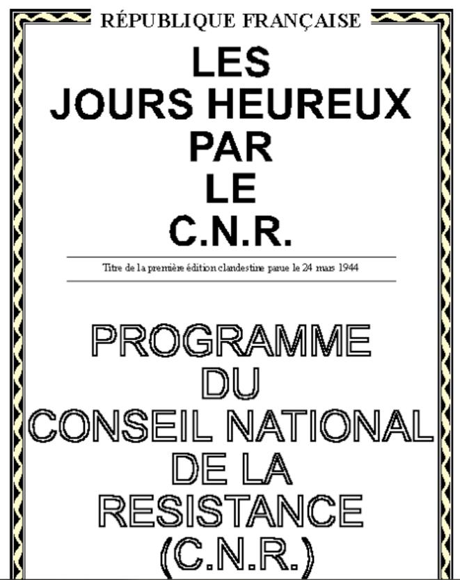 La couverture du programme du CNR