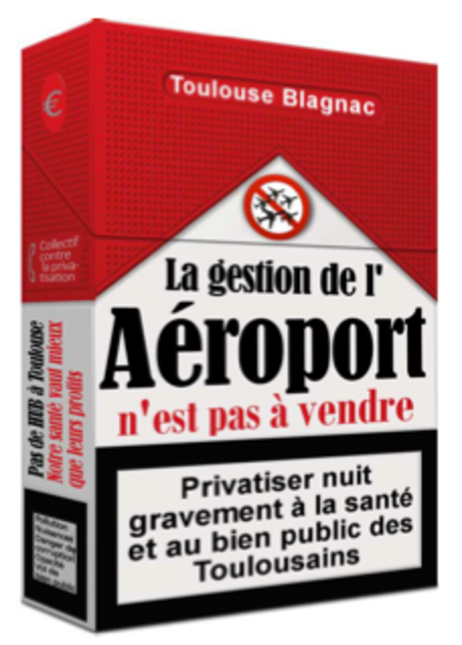Affichette du Collectif contre la privatisation de la gestion de l'aéroport