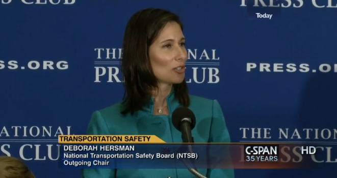 Deborah Hersman gave her farewell address at a National Press Club Speakers Breakfast.
