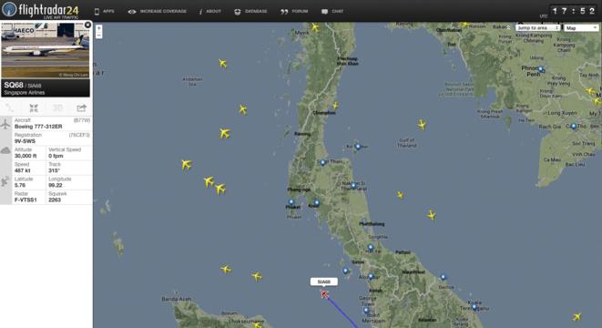 SQ 068 au dessus de Pulau Perak
