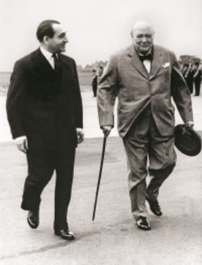 Pierre Mendès France et Winston Churchill