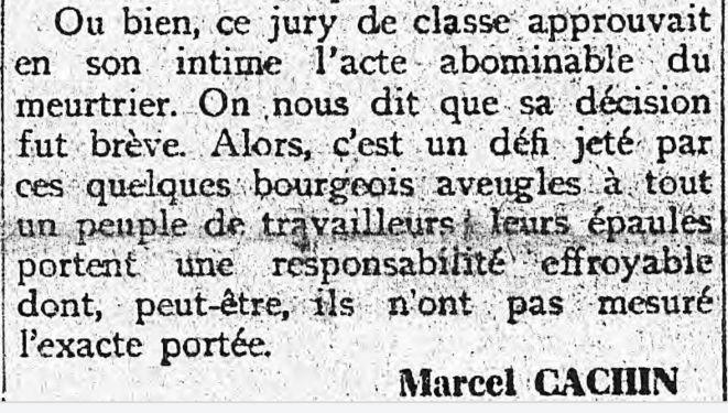 """Fin de l'éditorial de Marcel Cachin dans """"L'Humanité"""" commentant l'acquittement de Raoul Villain"""