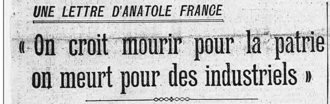 """En une de """"L'Humanité"""", le 18 juillet 1922."""