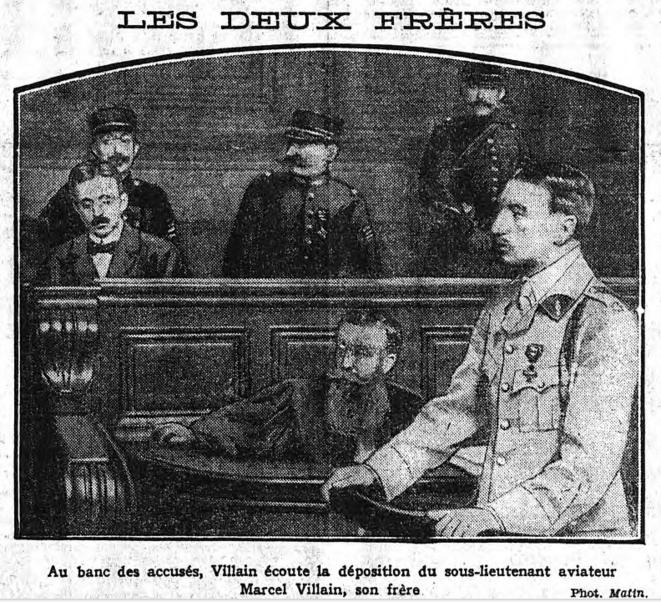 """En une du """"Matin"""" (28 mars 1919), déposition, en costume d'aviateur, du frère d'un accusé parfois considéré comme une victime"""