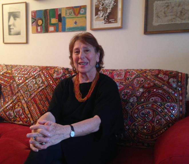 Marie-José Mondzain, chez elle, à Paris, le 10 janvier 2015.