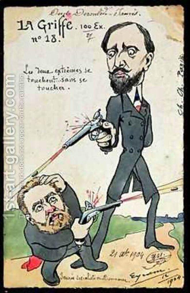 Caricature d'époque: «Les deux extrêmes se touchent sans se toucher.»