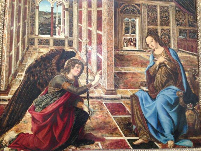 "Piero del Pollaiuolo (1443 Florence - 1496 Rome): ""Annonciation"" vue de Fiesole (on aperçoit Florence). Musée de Berlin, © AP"