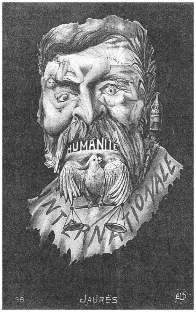 Jaurès caricaturé (la bouteille d'eau du Jourdain, en guise d'oreille gauche, est une allusion au baptême de sa fille).