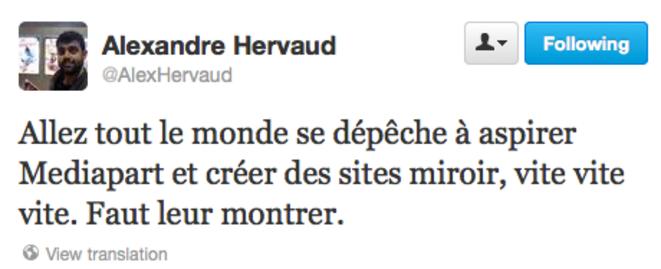 Un tweet posté par le journaliste Alexandre Herveau le 4 juillet à 17h21