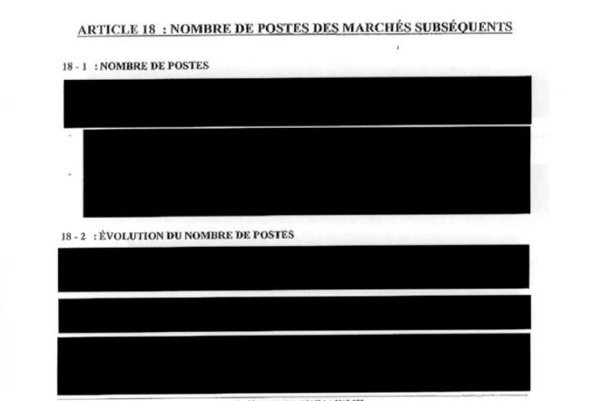 Capture d'écran d'un page du contrat fourni par le ministère de la défense