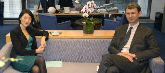 Fleur Pellerin et le patron d'Iliad, Maxime Lombardini © (Reuters)