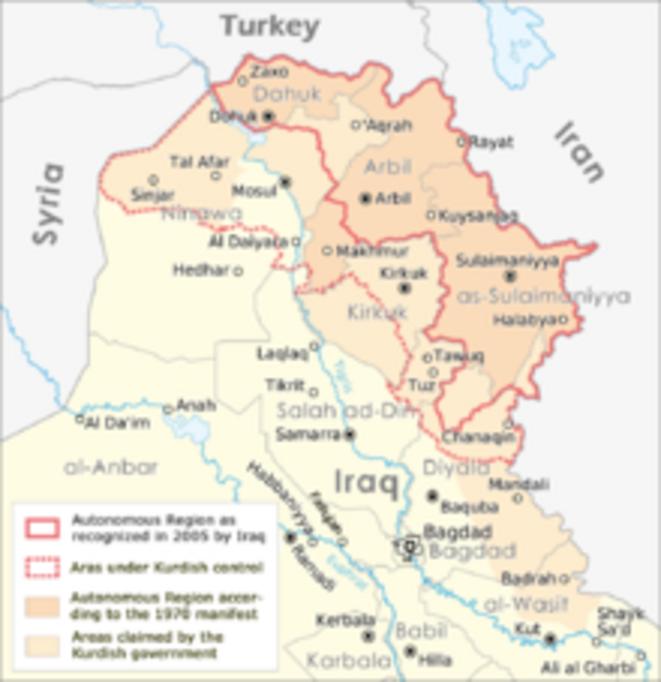 Le Kurdistan irakien © Wikipedia
