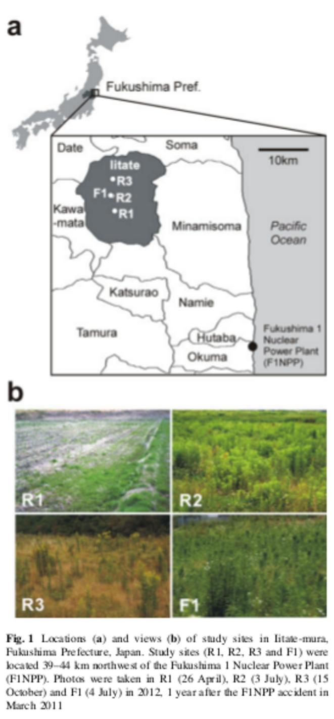 Localisation des points d'études et photographies des champs étudiés. © Institute of Plant Science and Resources, Okayama University