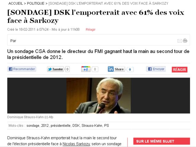 DSK bat Sarkozy à 61% © Nouvel Obs