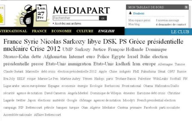 Fil d'actualités Mediapart 27 février 2012 © Mediapart