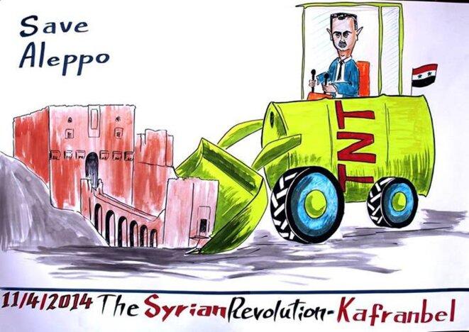Caricature du village de Kafranbel montrant Assad détruisant la citadelle de Alep