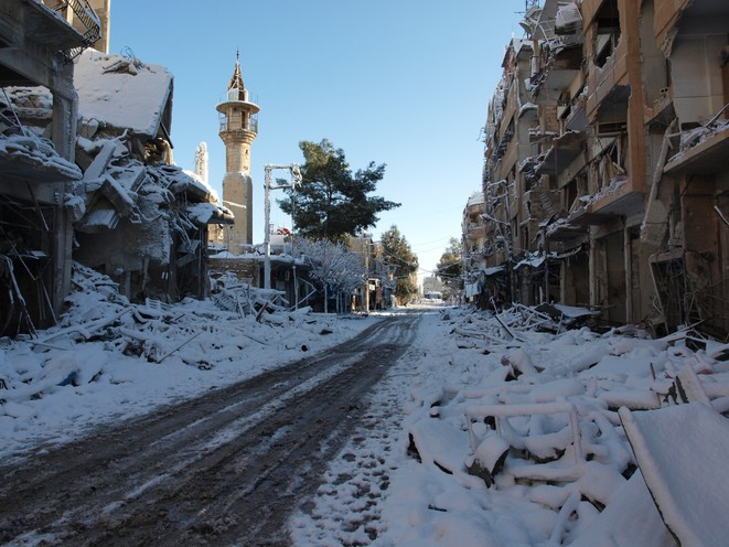 10/01/2013 - Darraya sous la neige © Kinan Al Darrani, Shaam News Network