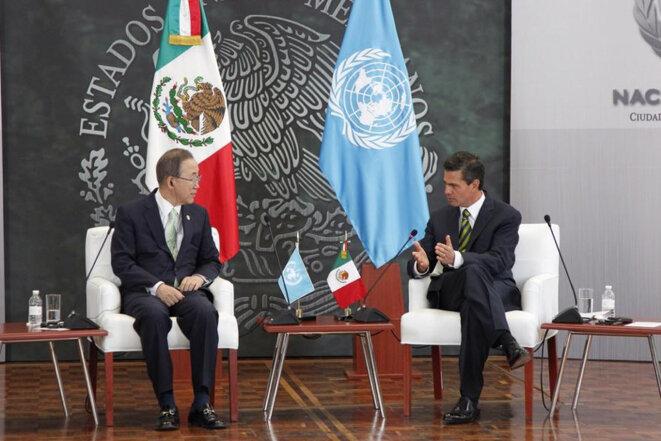 Ban Ki-moon et Enrique Peña Nieto © Archive ONU